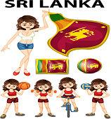 Sri Lanka flag and woman athlete illustration