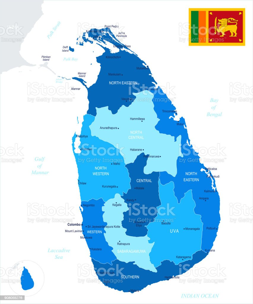 Sri lanka map and flag detailed vector illustration stock vector art flag map navigational equipment world map asia sri lanka gumiabroncs Image collections