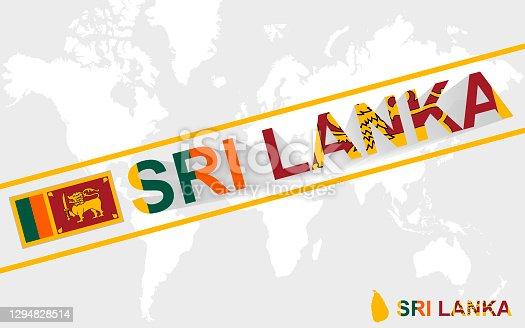 istock Sri Lanka map flag and text illustration 1294828514