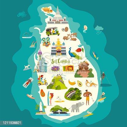 istock Sri Lanka map vector. Abstract atlas poster 1211536621