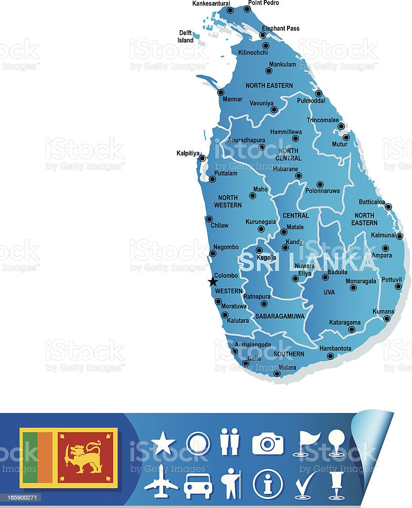 Sri lanka map royalty-free stock vector art