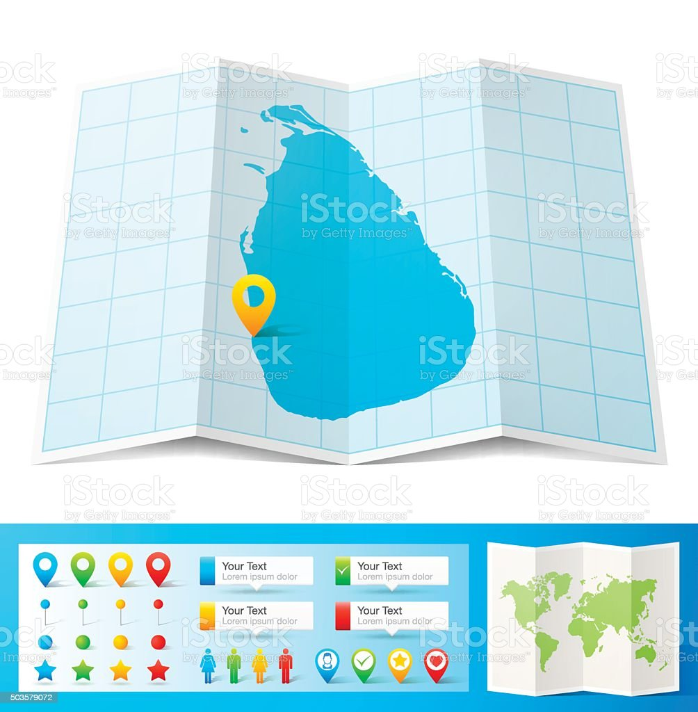 Sri Lanka Map With Location Pins Isolated On White ...