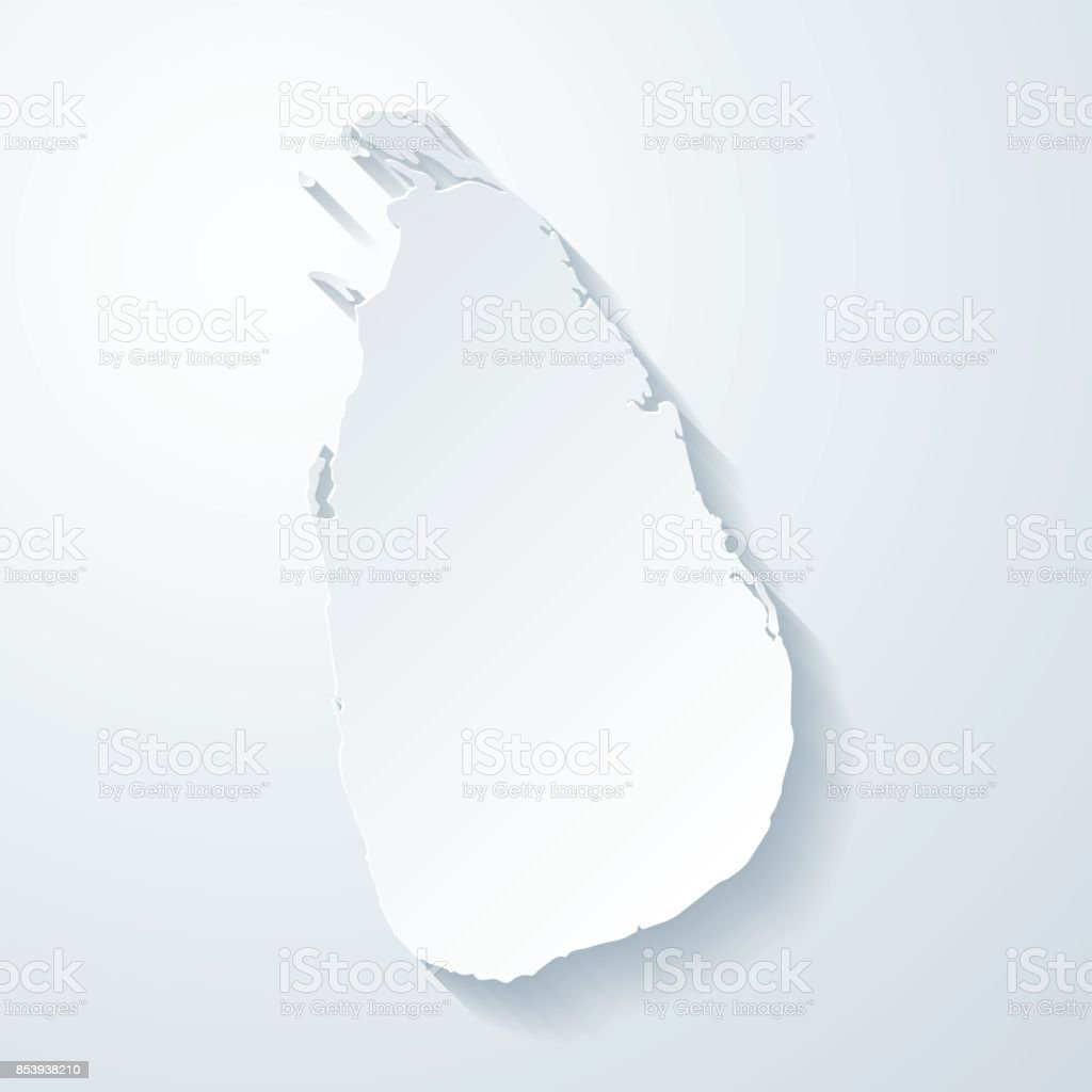 Sri Lanka Map With Paper Cut Effect On Blank Background Stock Vector ...