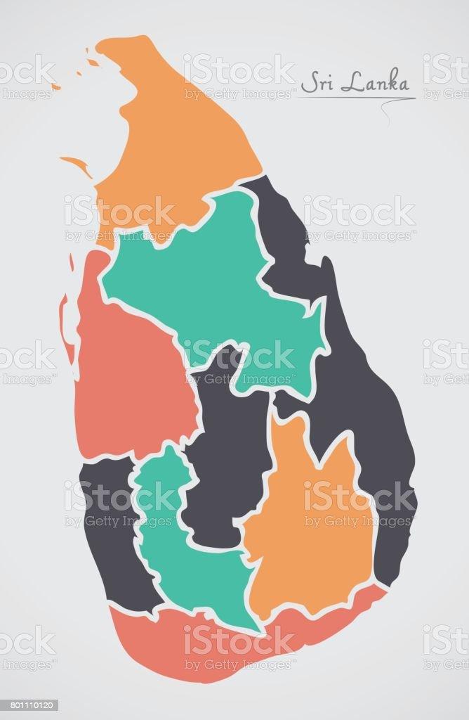 Mapa De Sri Lanka.Ilustracion De Mapa De Sri Lanka Con Estados Y Moderno
