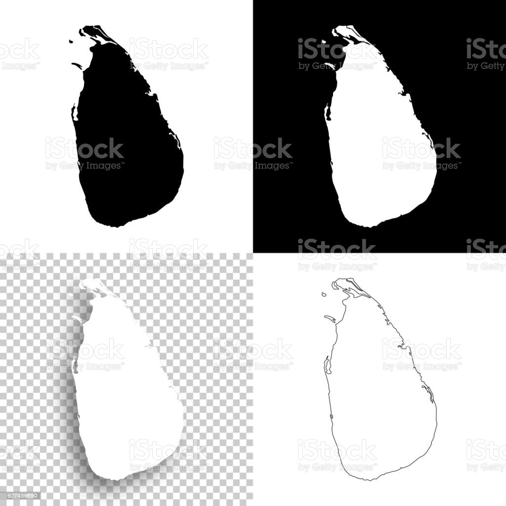 Sri Lanka Maps For Design Blank White And Black Backgrounds ...