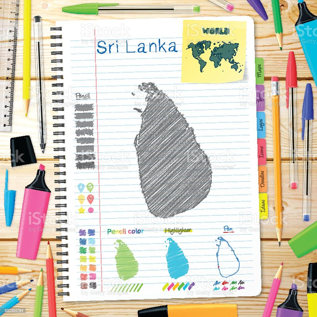 Sri Lanka Maps Hand Drawn On Notebook Wooden Background Stock Vector Ballpoint Diagram And Notepad Royalty Free Photos Art