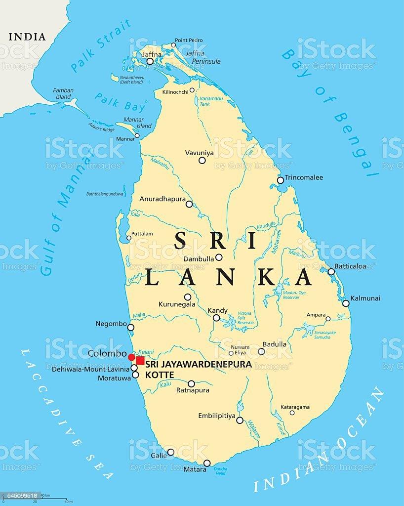 Sri Lanka Political Map Stock Vector Art & More Images of Asia ...