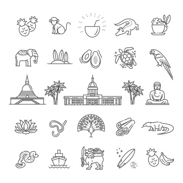 Sri Lanka Urlaub Symbole festgelegt. Vektor-icons – Vektorgrafik