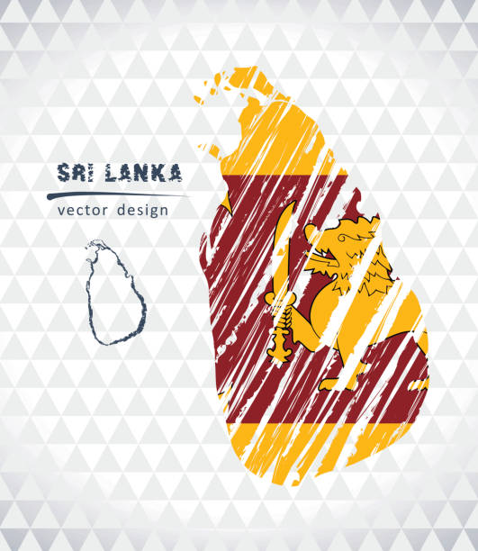 sri lanka vector map with flag inside isolated on a white background. sketch chalk hand drawn illustration - back to school stock illustrations