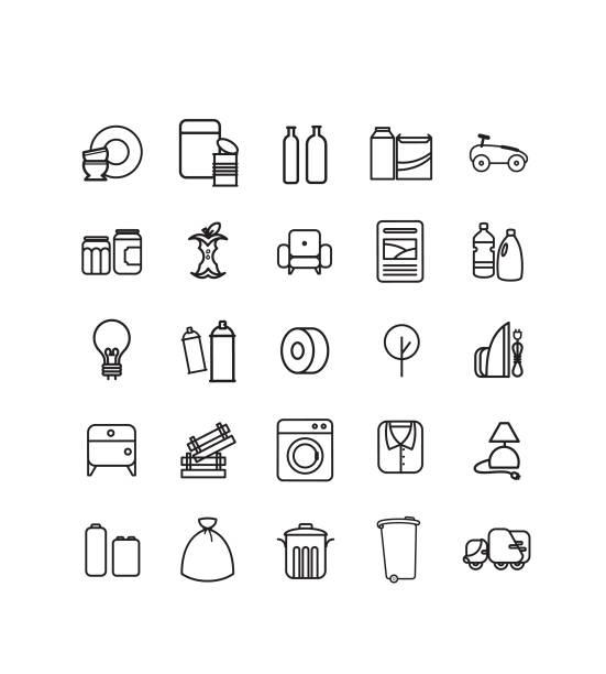 série de piktogramme déchets, recyclage, décheterie - altglas stock-grafiken, -clipart, -cartoons und -symbole