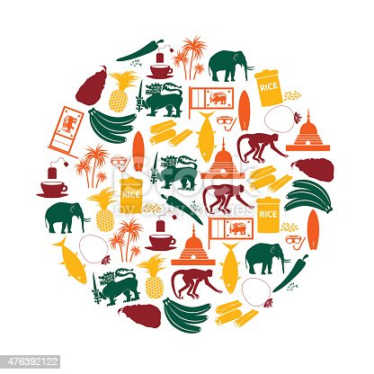 istock Sri-lanka country symbols color icons in circle eps10 476392122