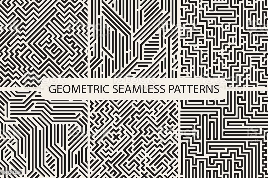 Sriped seamless geometric patterns. Digital design. vector art illustration