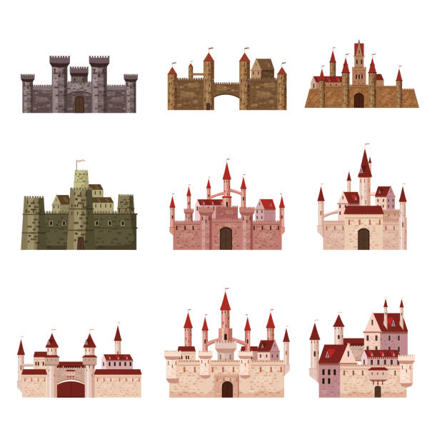 srt castles, fortress, ancient, architecture middle ages europe, medieval palaces with high towers and conical roofs, vector, banners, isolated, illustration, cartoon style - castle stock illustrations