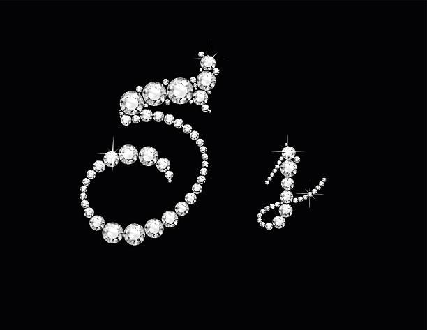 Ss Diamond Script Jeweled Font vector art illustration