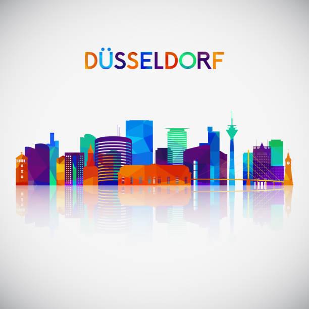 dã1/4sseldorf skyline silhouette in bunten geometrischen stil. symbol für ihr design. vector illustration. - düsseldorf stock-grafiken, -clipart, -cartoons und -symbole