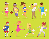 Ssportsmen vector cartoon characters boy and girl people basketball, hockey, baseball, running happy character sport people adult exercise. competition set group fitness sport people runner training