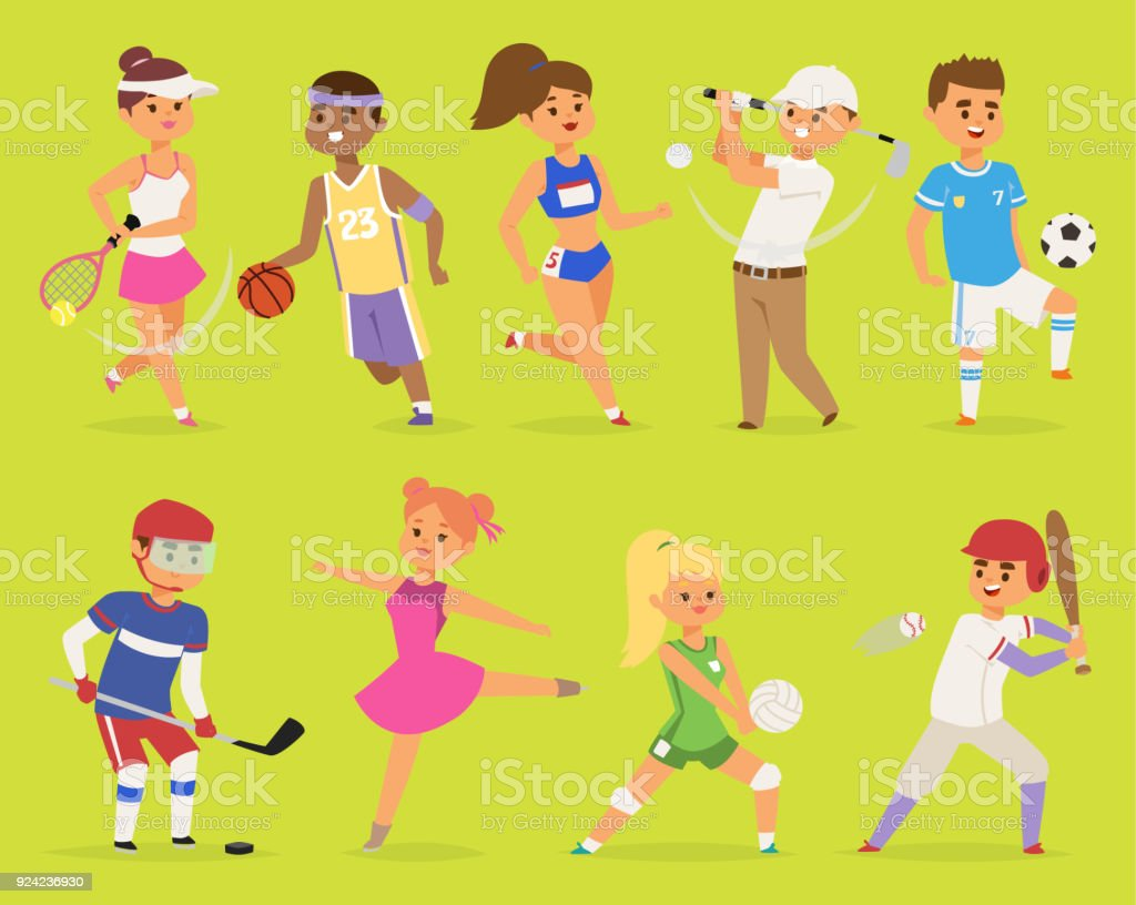 Ssportsmen vector cartoon characters boy and girl people basketball, hockey, baseball, running happy character sport people adult exercise. competition set group fitness sport people runner training - illustrazione arte vettoriale