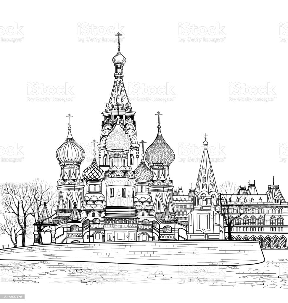 St Basil cathedral city view, Moscow, Russia. Travel Russia background. Engraved cityscape vector art illustration