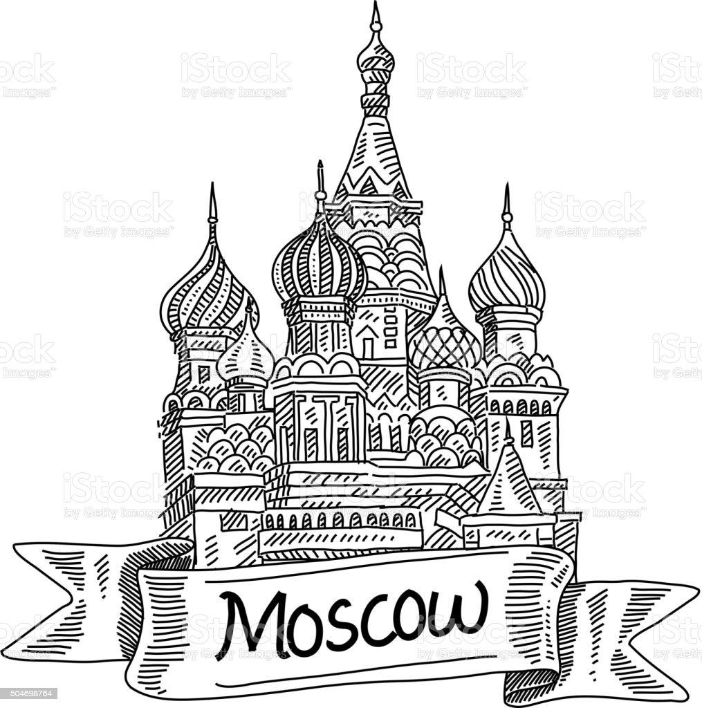 Basilius-Kathedrale, Zeichnung – Vektorgrafik