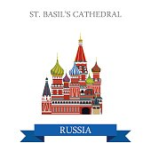 St. Basil Cathedral in Moscow Russia. Flat cartoon style historic sight showplace attraction web site vector illustration. World country city vacation travel sightseeing Russian Federation collection.