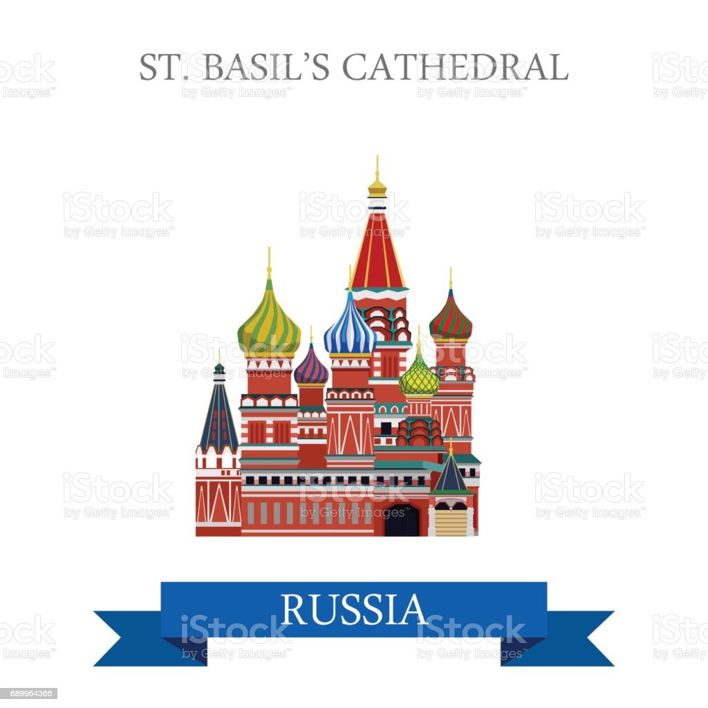 St. Basil Cathedral in Moscow Russia. Flat cartoon style historic sight showplace attraction web site vector illustration. World country city vacation travel sightseeing Russian Federation collection. vector art illustration