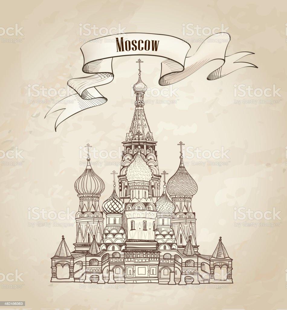 St. Basilius-Kathedrale Wahrzeichen.  Besuchen Sie Moskau-altmodische Hintergrund. – Vektorgrafik