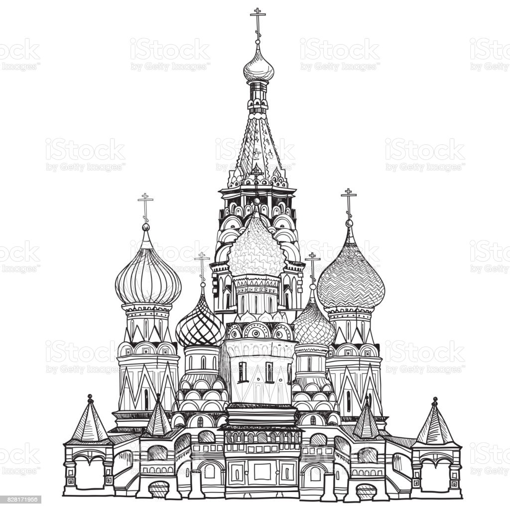 Basilius Kathedrale, Moskau Stadt Sehenswürdigkeit. Reisen Russland Zeichen – Vektorgrafik