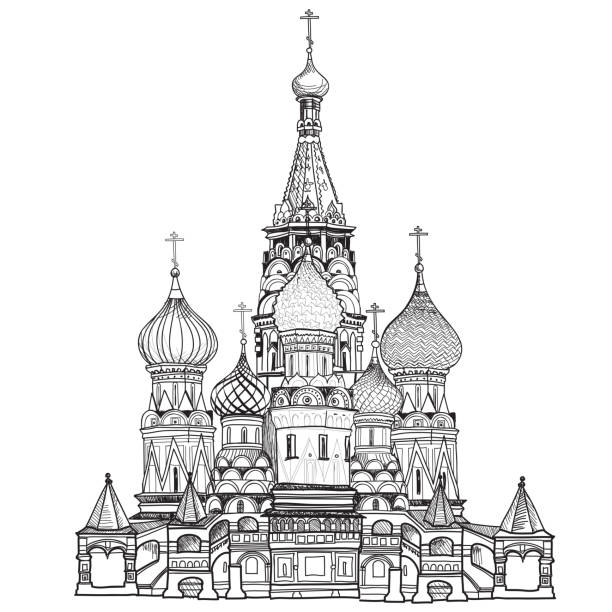 St Basil cathedral, Moscow city famous place. Travel Russia sign St Basil cathedral, towers and wall cityscape Russian famous place. Kremlin city view from Moscow river. Red square view, Moscow, Russia. Travel Russia vector illustration. kremlin stock illustrations