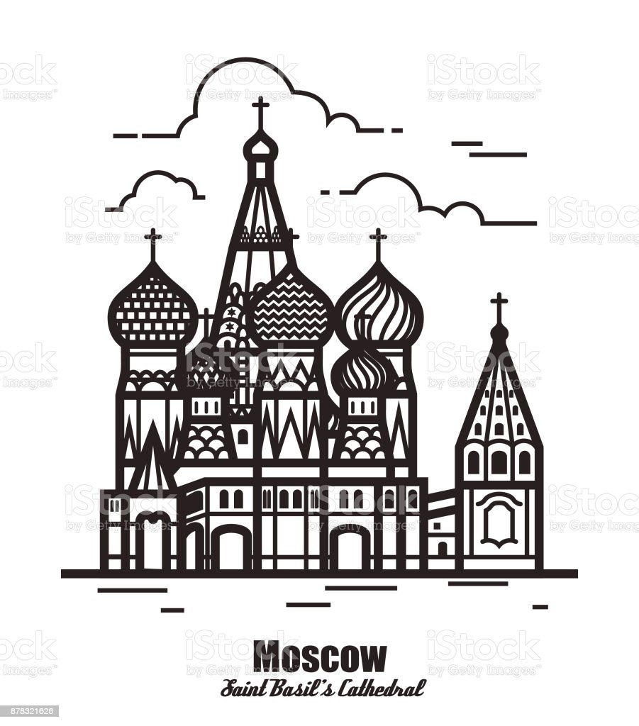 St Basil's Cathedral, Red Square, Moscow, Russia. Vector illustration isolated on white background vector art illustration