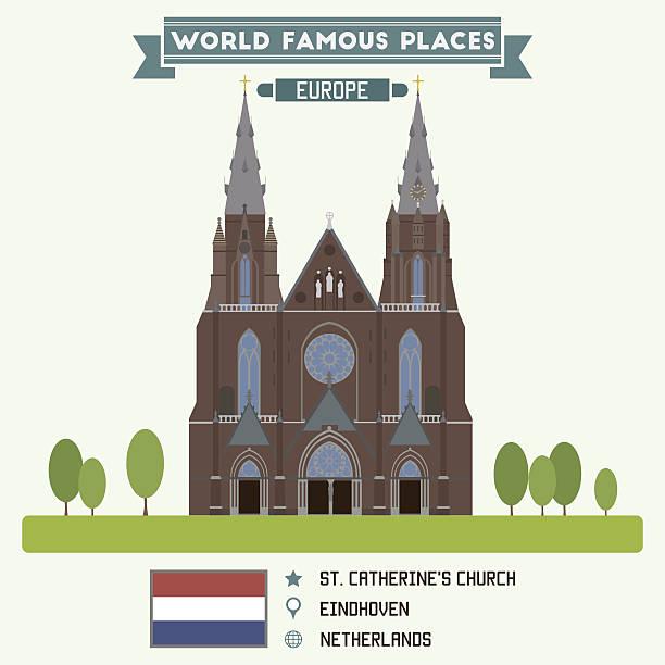 stockillustraties, clipart, cartoons en iconen met st. catherines church. eindhoven, netherlands - eindhoven