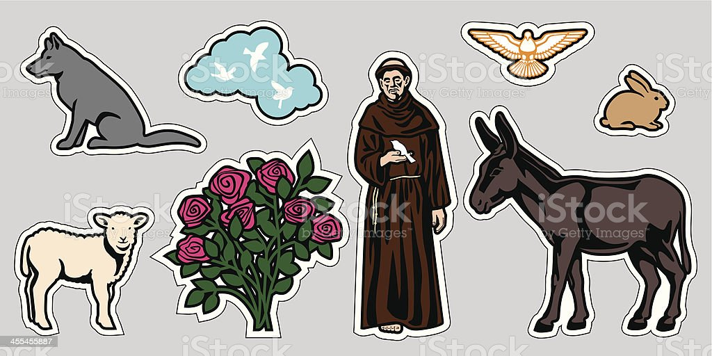 St. Francis of Assisi&Animals vector art illustration