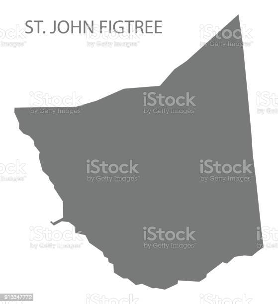 St. John Figtree map grey illustration silhouette shape