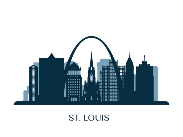 聖 · 路易士的天際線,單色的剪影。向量圖。 - st louis 幅插畫檔、美工圖案、卡通及圖標