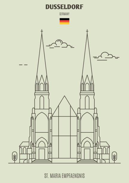 st. maria empfaengnis in düsseldorf, deutschland. landmark-symbol - düsseldorf stock-grafiken, -clipart, -cartoons und -symbole