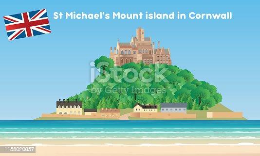 Vector St Michael's Mount island in Cornwall