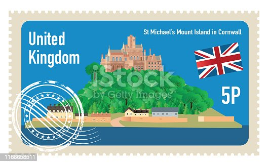 Vector St Michael's Mount island Stamp