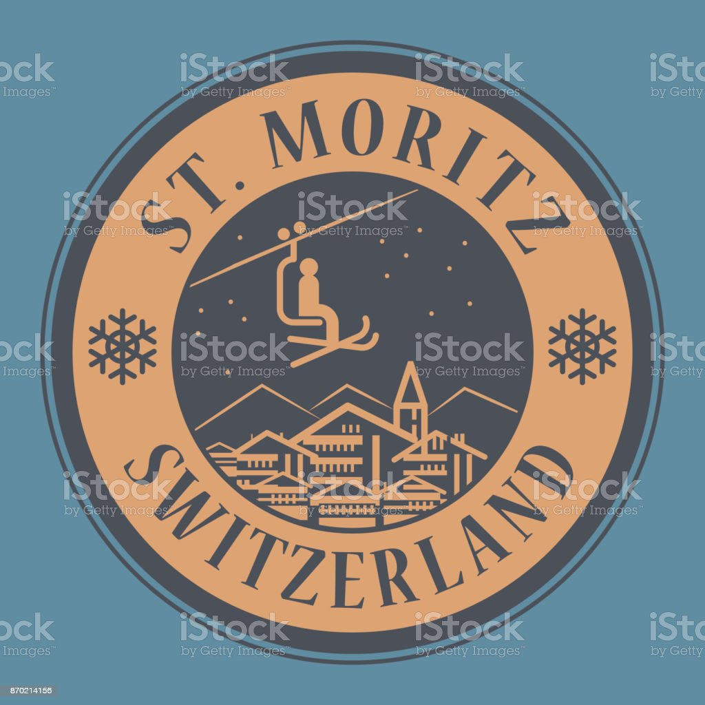 St. Moritz in Switzerland, ski resort vector art illustration