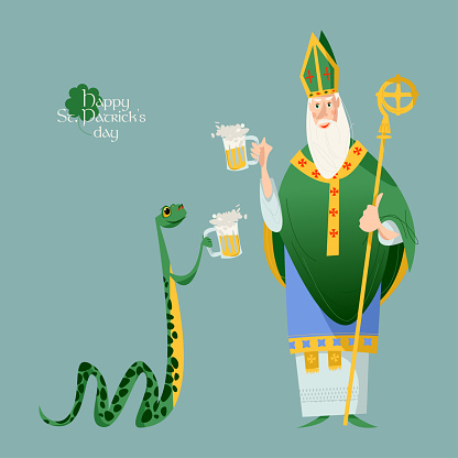 St Patrick (Apostle of Ireland) and a snake holding beer jugs. The patron saint of Ireland and a snake celebrate Saint Patrick's Day.