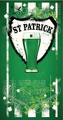 st patrick background with glass of beer