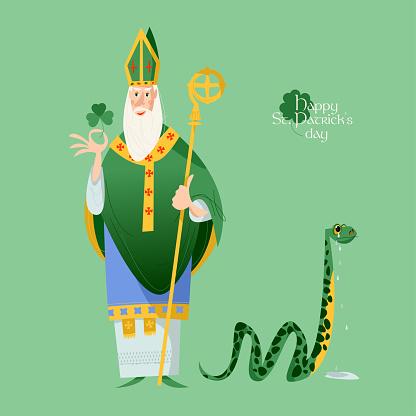 St Patrick (Apostle of Ireland ) banishes snakes from Ireland. The patron saint of Ireland.