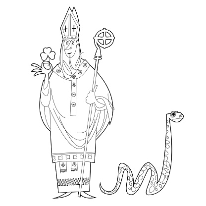 St Patrick (Apostle of Ireland ) banishes snakes from Ireland. The patron saint of Ireland. Black and white. Coloring page.