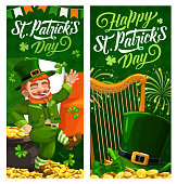 St. Patrick Day cartoon vector banners with leprechaun in green top hat dance on golden coins at national flag and harp with shamrocks and lettering. Saint Patricks traditional festival, celtic party
