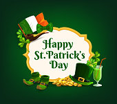 St. Patrick Day vector frame, banner with cartoon shamrocks, green top hat, gold coins, smoking pipe, shoes and pint of Ireland ale. Happy Saint Patricks Day greeting card with National flag, neck tie