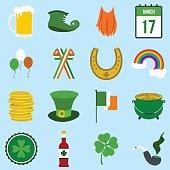 St Patrick Day flat icons
