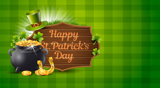 St. Patrick Day Green Background. Vector Illustration with Pot of Gold, Coins and Money Sign