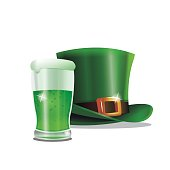 st patrick day green hat glass beer party