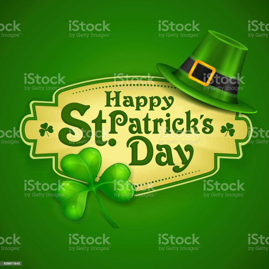 St. Patrick Day green poster vector art illustration