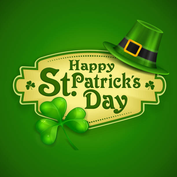 St. Patrick Day green poster vector art illustration