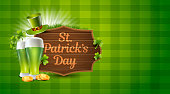 istock St. Patrick Day Green Vector Illustration with Pot of Gold, Money and Beer Glass Sign 1212276099