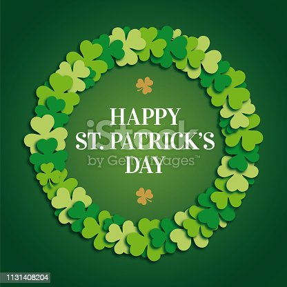 istock St. Patrick Day Greeting Card with clover wreath. 1131408204